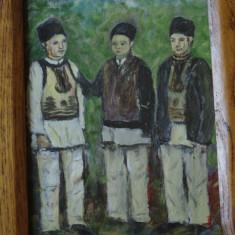 Tablou cu rama din lemn - pictura - Tarani la sfat - tarani din Hunedoara !!!! - Tablou autor neidentificat, Portrete, Ulei, Altul