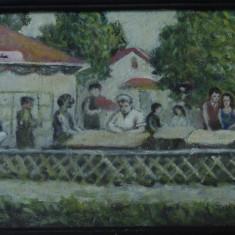 Tablou cu rama din lemn si sticla - pictura - semnat 1976 - Toamna la periferie - Pictor roman, Scene gen, Ulei, Altul