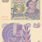SUEDIA 5 kronor 1981 UNC!!! - bancnota europa