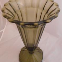 FRUMOAS Vaza Mare Sticla Cristal Bohemia Coart Fumuriu ART DECO PRESGLAS - Vaza sticla