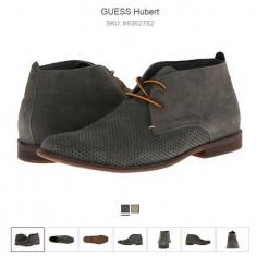 Pantofi de vara GUESS HUBERT din piele - Pantof barbat Guess, Marime: 41.5, Culoare: Gri, Piele naturala