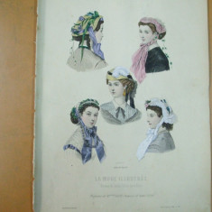Moda costum palarie rochie gravura color La mode illustree Paris 1867 - Revista moda
