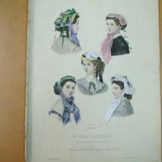 Moda costum palarie rochie gravura color La mode illustree Paris 1867 - Revista moda