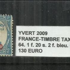 FRANTA - TIMBRE TAXE 1863 - 70 - 64, 1F. 20 S 2F.
