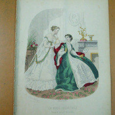 Moda costum rochie gravura color La mode illustree Paris 1867