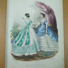 Moda costum rochie gravura color La mode illustree Paris 1867 - Revista moda
