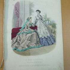Moda costum palarie  rochie gravura color La mode illustree Paris 1866