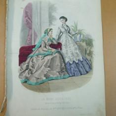 Moda costum palarie rochie gravura color La mode illustree Paris 1866 - Revista moda