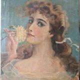 Portret de tanara cu trandafir galben, pictura veche, ulei pe panza - Pictor roman, Portrete, Art Nouveau