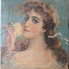 Portret de tanara cu trandafir galben, pictura veche , ulei pe panza, Portrete, Art Nouveau
