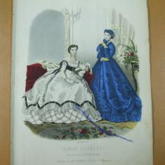Moda costum rochie gravura color La mode illustree Paris 1867 - Revista moda