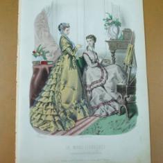 Moda costum rochie pictura sevalet gravura color La mode illustree Paris 1868 - Revista moda