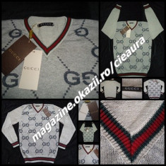 PULOVER BARBATI GRI ANCHIOR FIRMA GUCCI made in ITALY IMPRIMEU SUPRADIMENSIONAT, Marime: XL