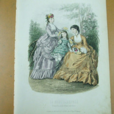 Moda costum rochie palarie evantai copil  gravura color La mode illustree Paris 1869