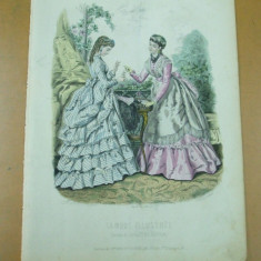 Moda costum rochie carti de joc  gravura color La mode illustree Paris 1867