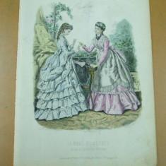 Moda costum rochie carti de joc gravura color La mode illustree Paris 1867 - Revista moda