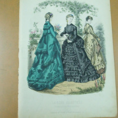 Moda costum rochie umbrela palarie  gravura color La mode illustree Paris 1869