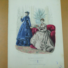 Moda costum rochie palarie  gravura color La mode illustree Paris 1868
