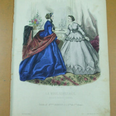 Moda costum rochie   gravura color La mode illustree Paris 1865