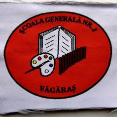 ROMANIA ECUSON EMBLEMA PENTRU SACOU SCOALA GENERALA NR 2 FAGARAS, 80 x 65 mm **