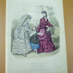 Moda costum rochie poseta palarie umbrela copil  gravura color La mode illustree Paris 1869