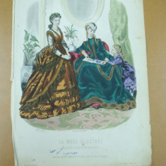 Moda costum rochie palarie oglinda copil   gravura color La mode illustree Paris 1869