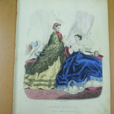 Moda costum rochie palarie  gravura color La mode illustree Paris 1865