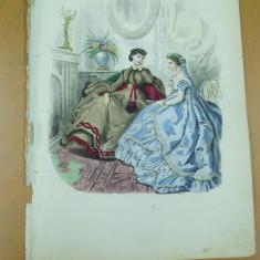 Moda costum rochie palarie oglinda gravura color - Revista moda
