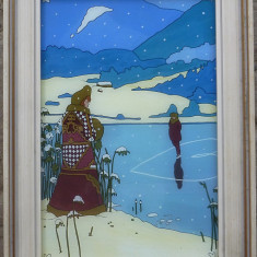 Craciun '82 - pictura pe sticla semnata  Edith