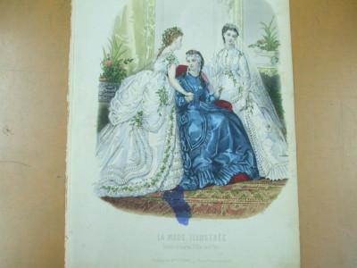 Moda costum rochie mireasa voal   gravura color La mode illustree Paris 1869 foto