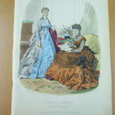 Moda costum rochie manusi pian muzica   gravura color La mode illustree Paris 1869