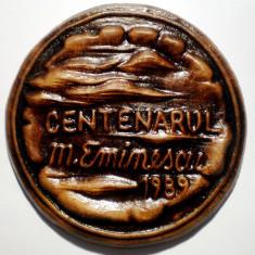 5.119 PLACHETA ROMANIA CENTENARUL MIHAI EMINESCU 1989 85mm - Medalii Romania