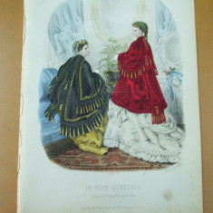 Moda costum rochie evantai gravura color La mode illustree Paris 1869 - Revista moda