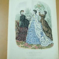 Moda costum rochie evantai  gravura color La mode illustree Paris 1869