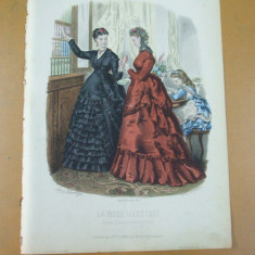 Moda costum rochie carte bilbioteca copil  gravura color La mode illustree Paris 1869