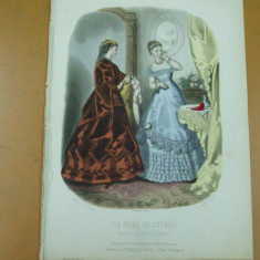 Moda costum rochie palarie gravura color La mode illustree Paris 1867 - Revista moda