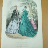 Moda costum rochie palarie umbrela gravura color La mode illustree Paris 1868 - Revista moda