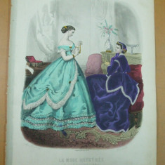 Moda costum rochie palarie  gravura color La mode illustree Paris 1866