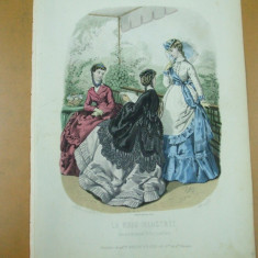 Moda costum rochie palarie umbrela   gravura color La mode illustree Paris 1869