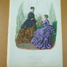 Moda costum rochie palarie  gravura color La mode illustree Paris 1869