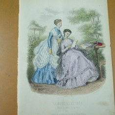 Moda costum rochie   evantai   gravura color La mode illustree Paris 1868
