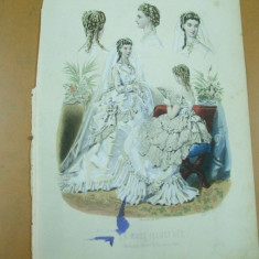 Moda costum rochie mireasa evantai voal  gravura color La mode illustree Paris 1869