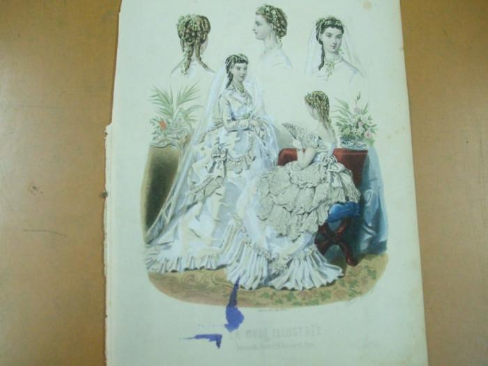 Moda costum rochie mireasa evantai voal  gravura color La mode illustree Paris 1869