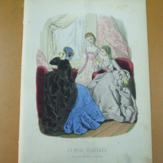 Moda costum rochie   gravura color La mode illustree Paris 1869