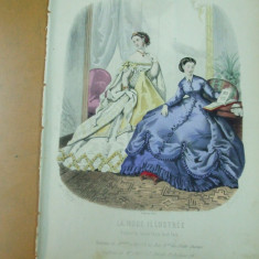 Moda costum rochie gravura color La mode illustree Paris 1866