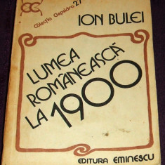 Lumea romaneasca la 1900 - Ion Bulei, analiza si sinteza istorica, colectia Clepsidra 1984 - Istorie