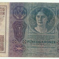 AUSTRIA AUSTRO-UNGARIA 50 KRONEN KORONA COROANE 1914 [4] P-15