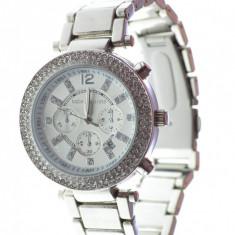 Ceas dama model stil Michael Kors argintiu cristale superb cutie cadou, Elegant, Analog