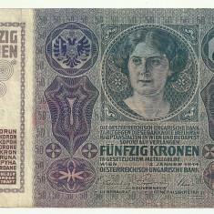 AUSTRIA AUSTRO-UNGARIA 50 KRONEN KORONA COROANE 1914 [1] P-15