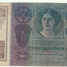 AUSTRIA AUSTRO-UNGARIA 50 KRONEN KORONA COROANE 1914 [3] P-15